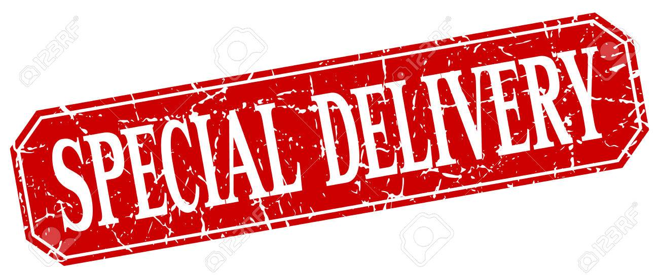 Special Delivery Red Square Vintage Grunge Isolated Sign Royalty