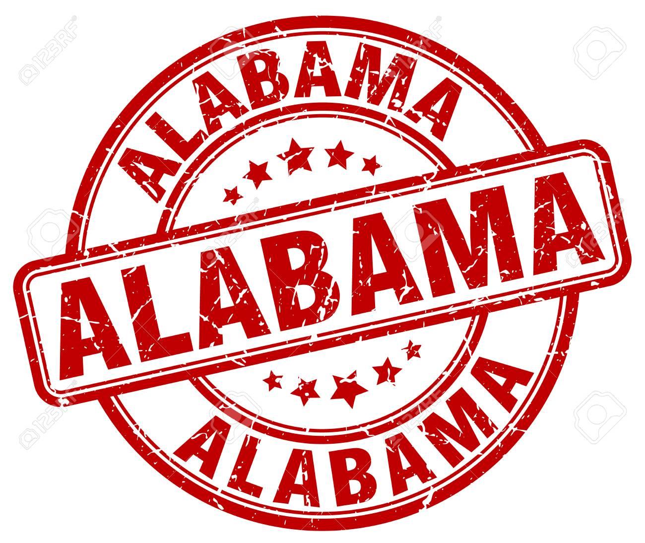 Alabama Red Grunge Round Vintage Rubber Stamp.Alabama Stamp.Alabama ...
