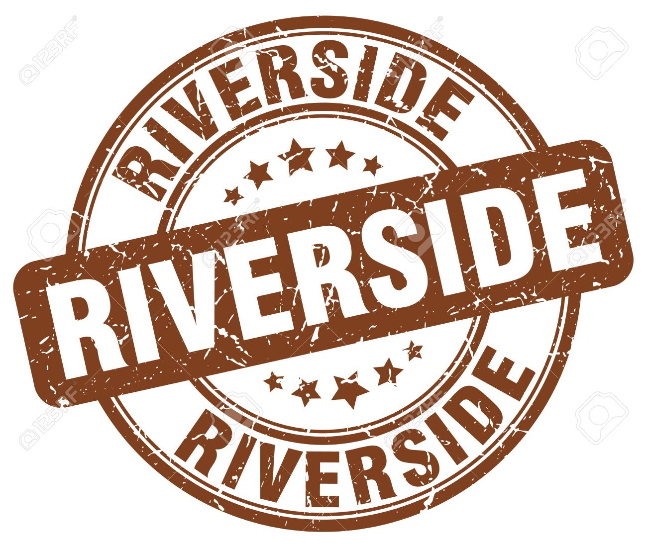 Riverside Brown Grunge Round Vintage Rubber StampRiverside
