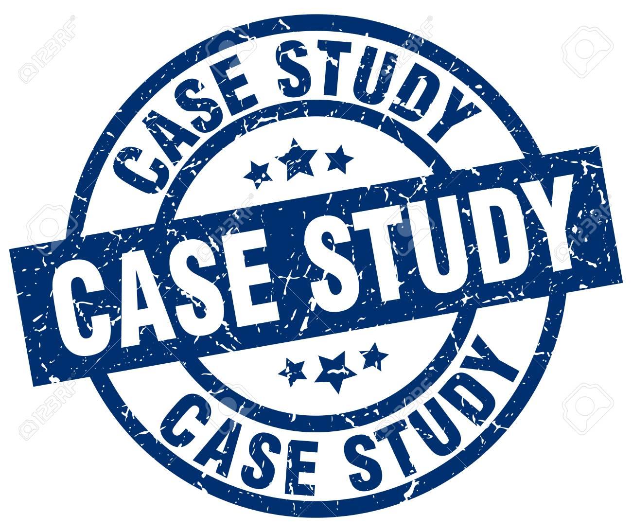 case study blue round grunge stamp stock vector 76184460