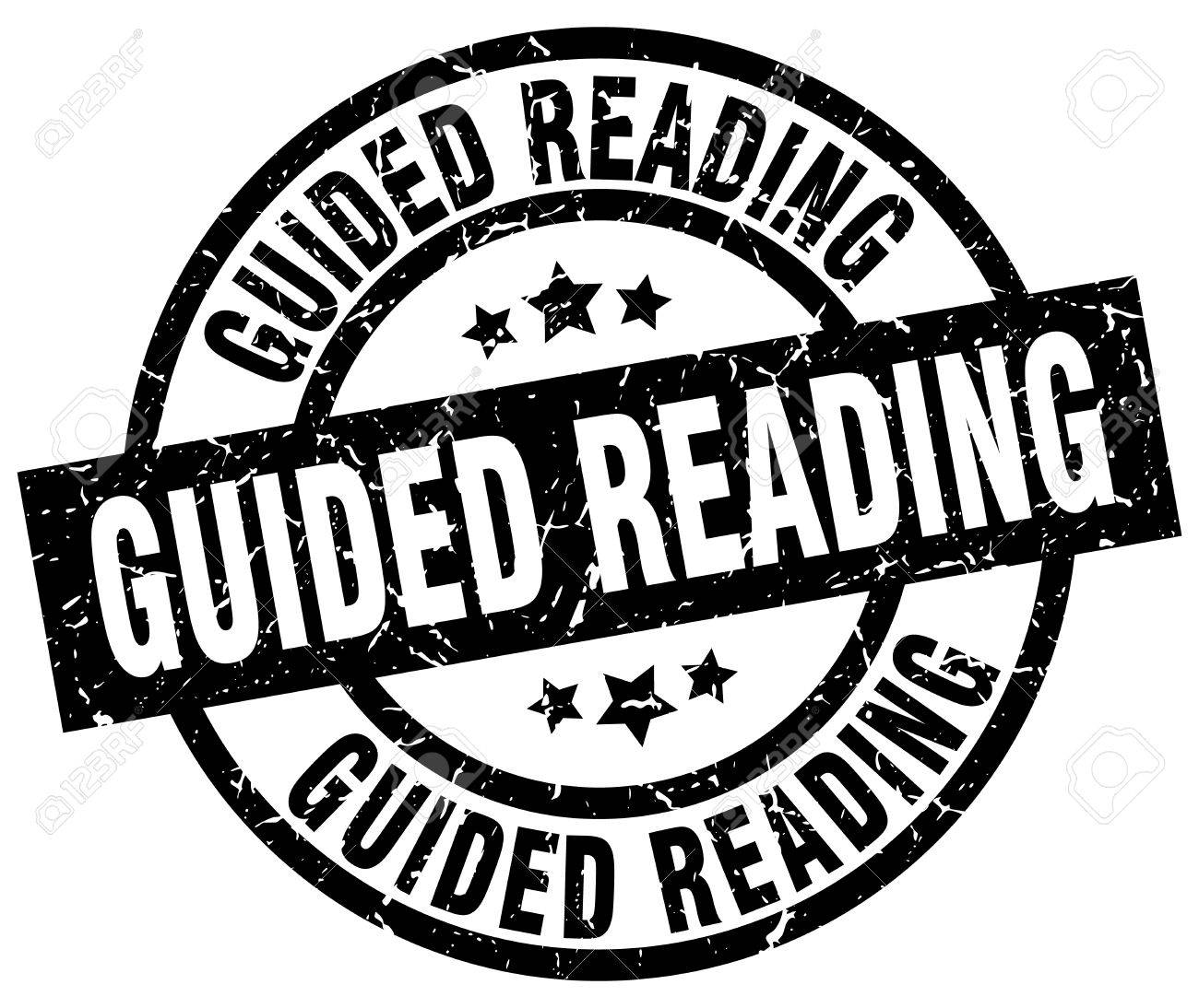 guided reading round grunge black stamp royalty free cliparts