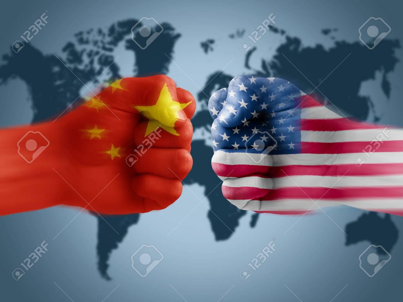 US - China trade war, boxing flag fists - 106087845