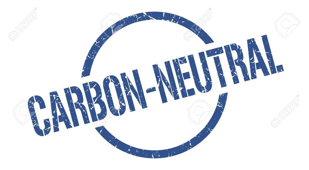 carbon-neutral blue round stamp - 115476684