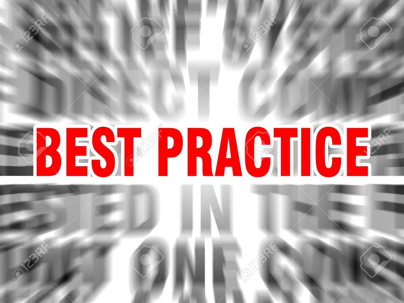 blurred text with focus on best practice - 123016757