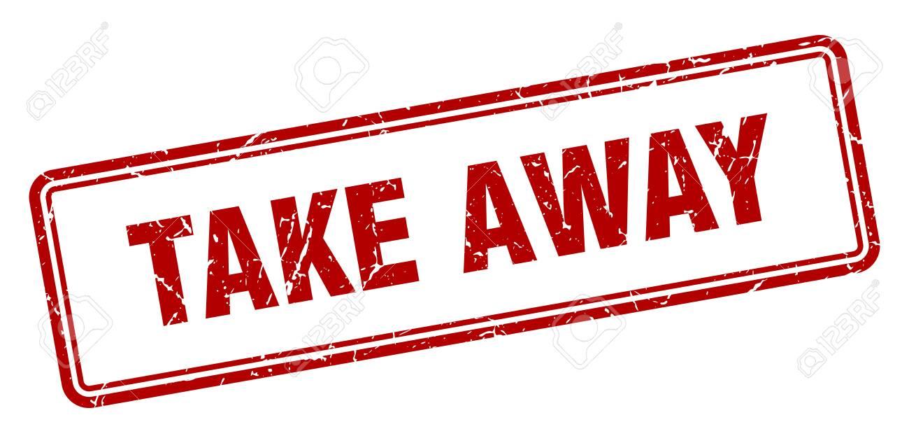 take away stamp. take away square grunge sign. take away - 125694863
