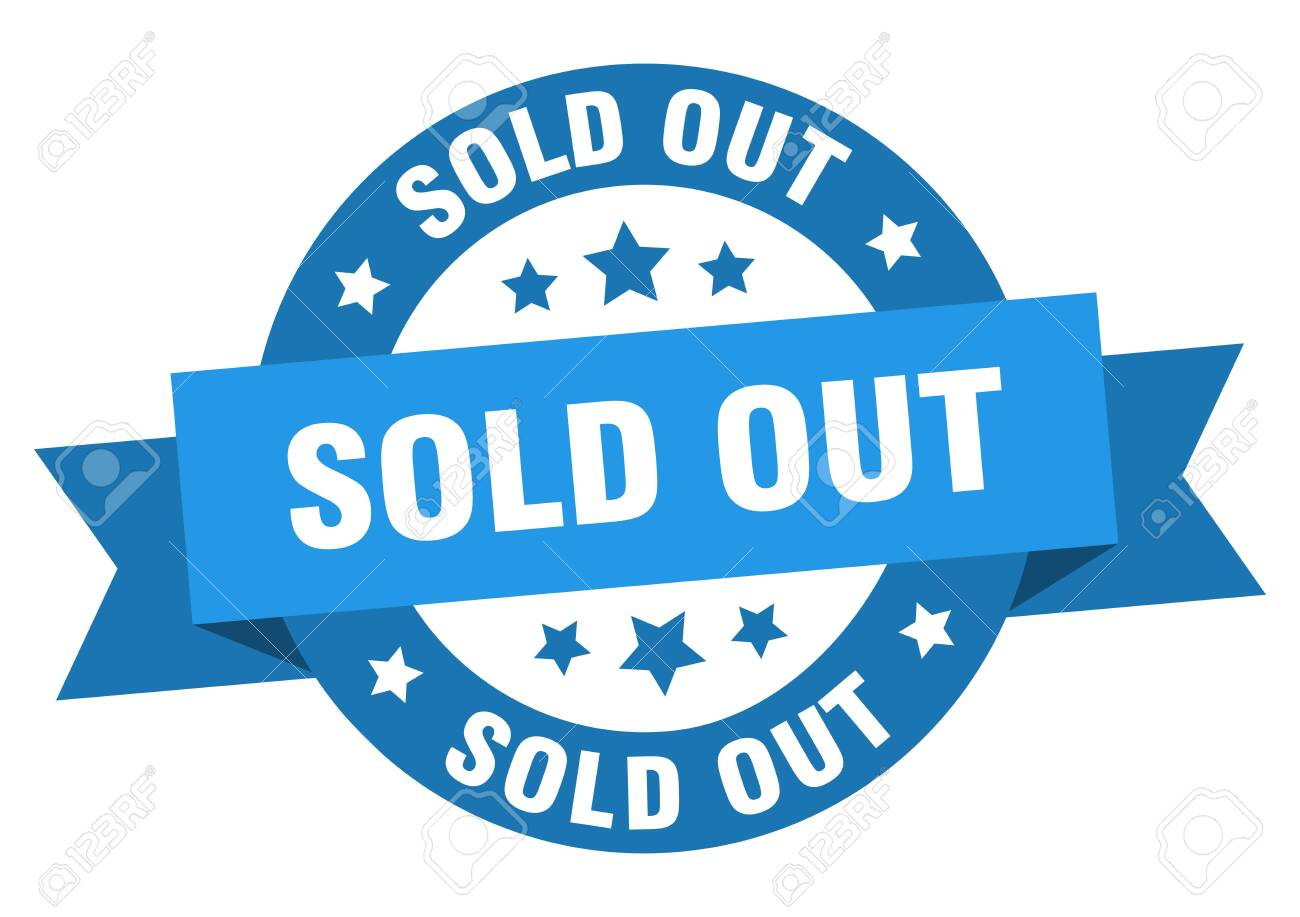 sold out ribbon. sold out round blue sign. sold out - 129645163