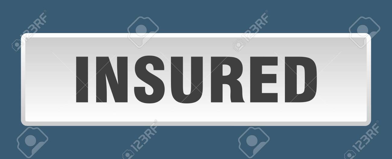 insured button. insured square white push button - 143293237