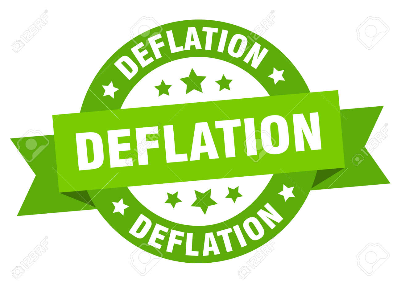 deflation round ribbon isolated label. deflation sign - 152998032