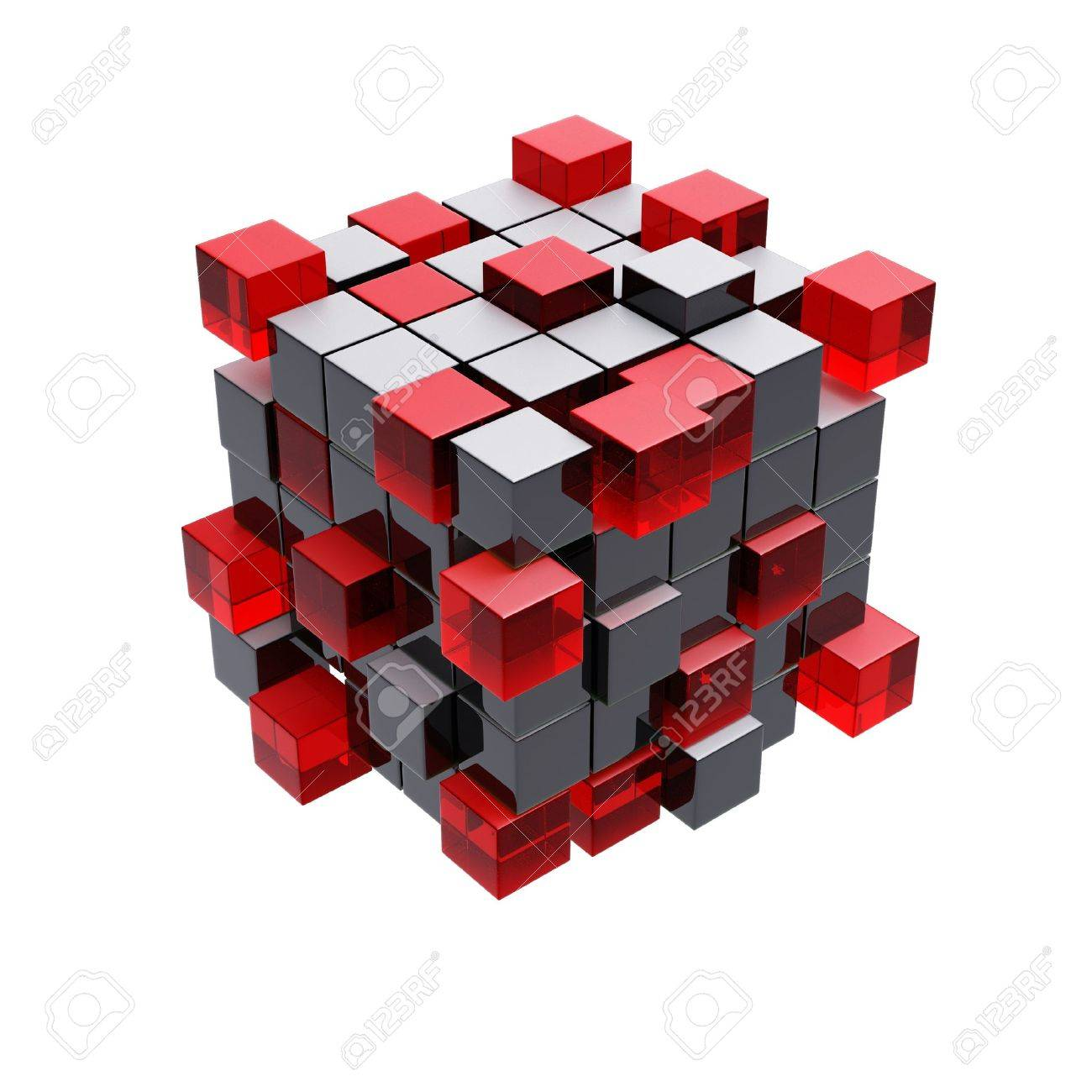 Cubes construction isolated on white 3d model - 12026949