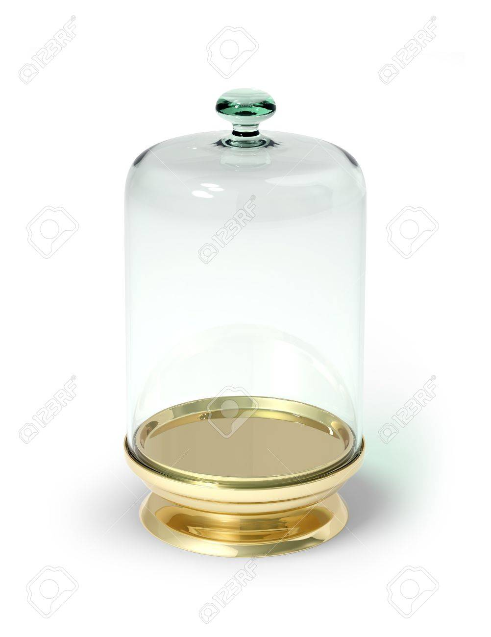 Gold stand with glass bell isolated 3d model - 12051979