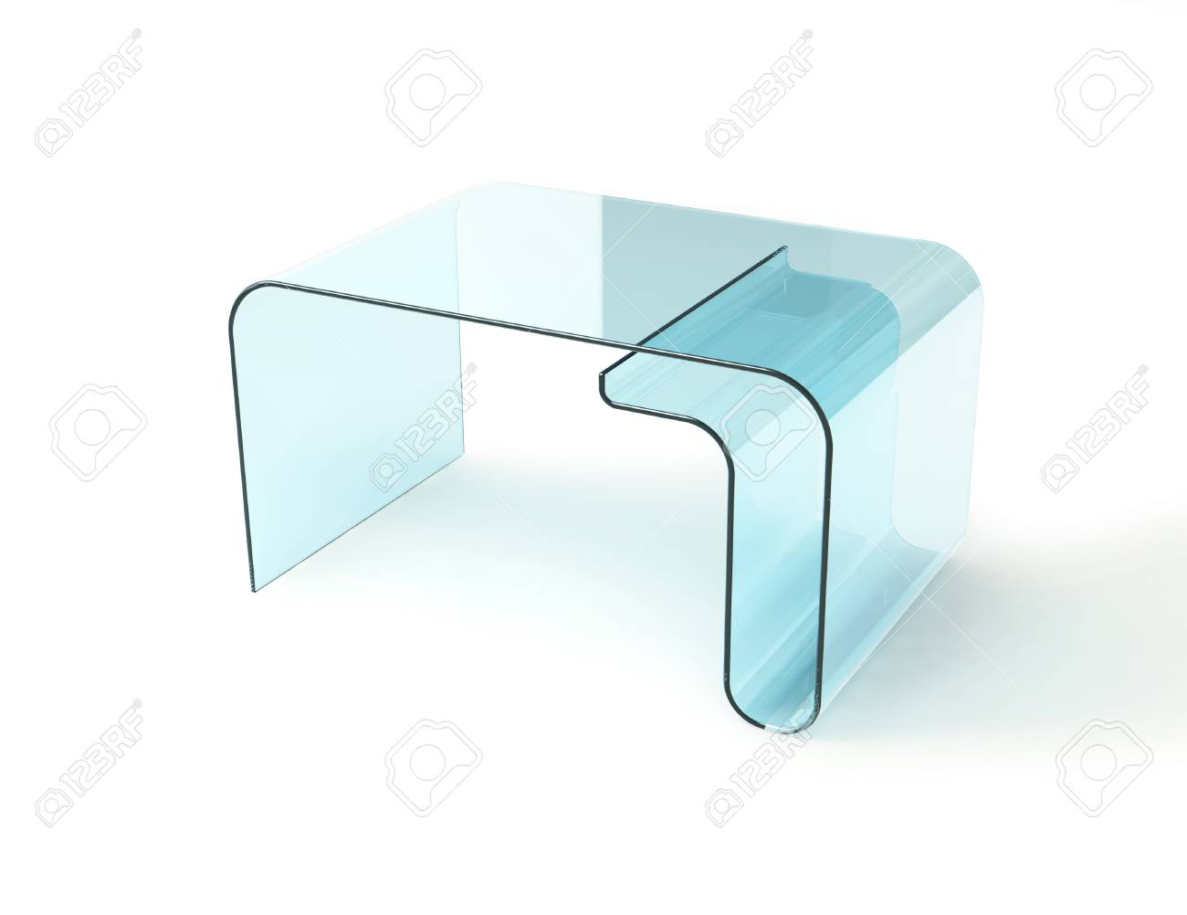 Glass Table Isolated On White 3d Model Stock Photo Picture And