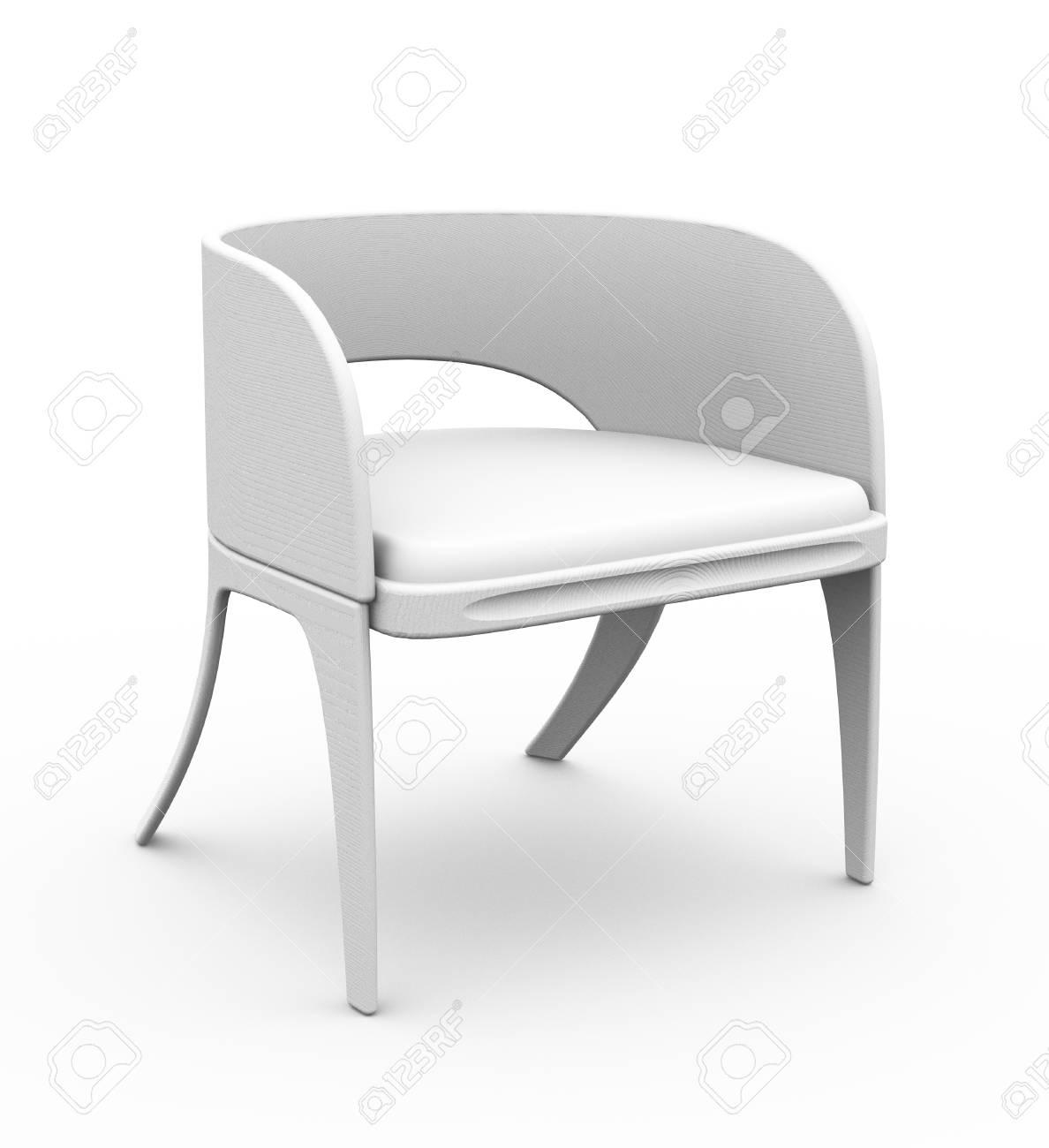 Chaise Gris Bois Moderne Isol Sur 3d Modle Blanc Banque DImages