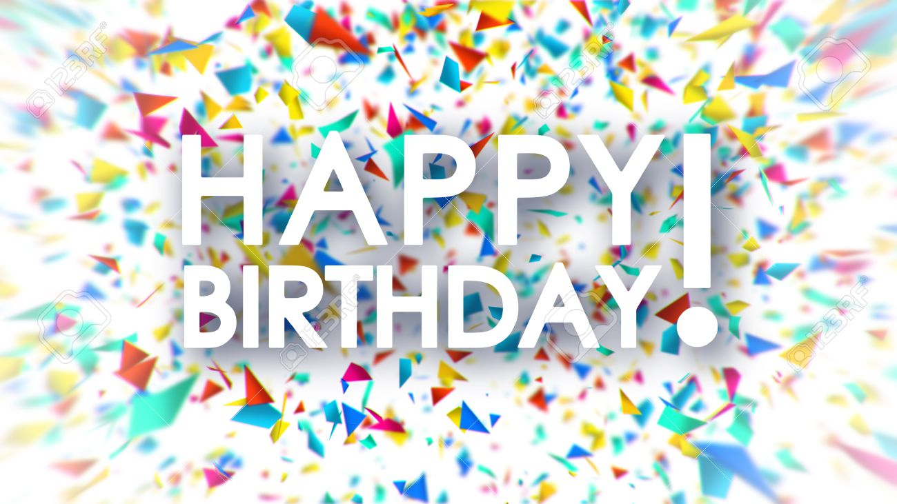 Happy Birthday White Sign With Falling Colorful Confetti Animation On Background Stock Photo