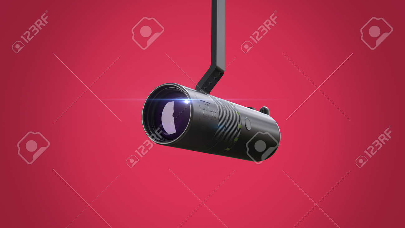 Security CCTV wireless camera with lens flare isolated on red background 3d render. - 160499402