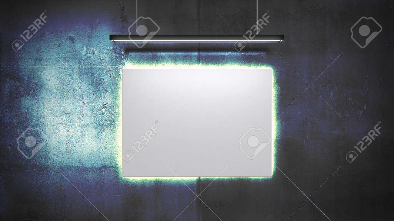 Empty canvas on the wall 3d render. Simple scene with colorful dark concrete wall and white canvas. Glowing light behind the canvas and above. - 160499382