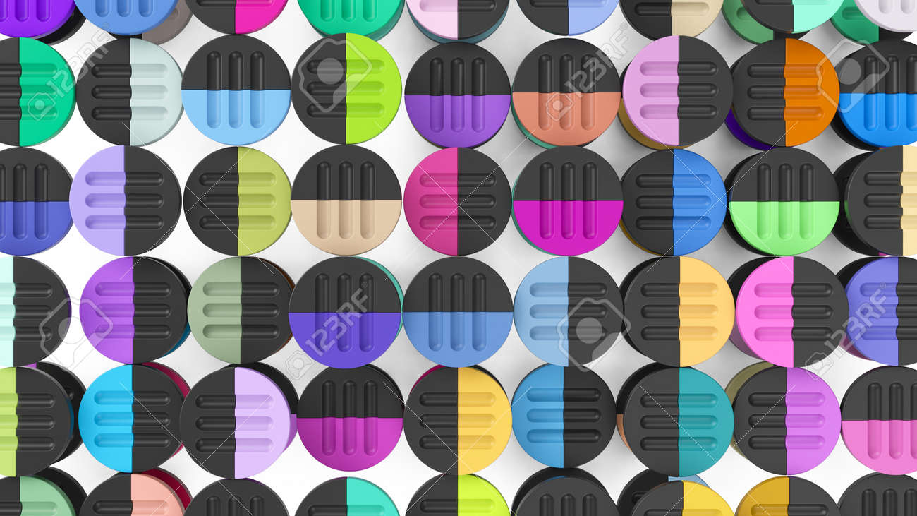 abstract colorful circle simple forms 3d render - 169603080