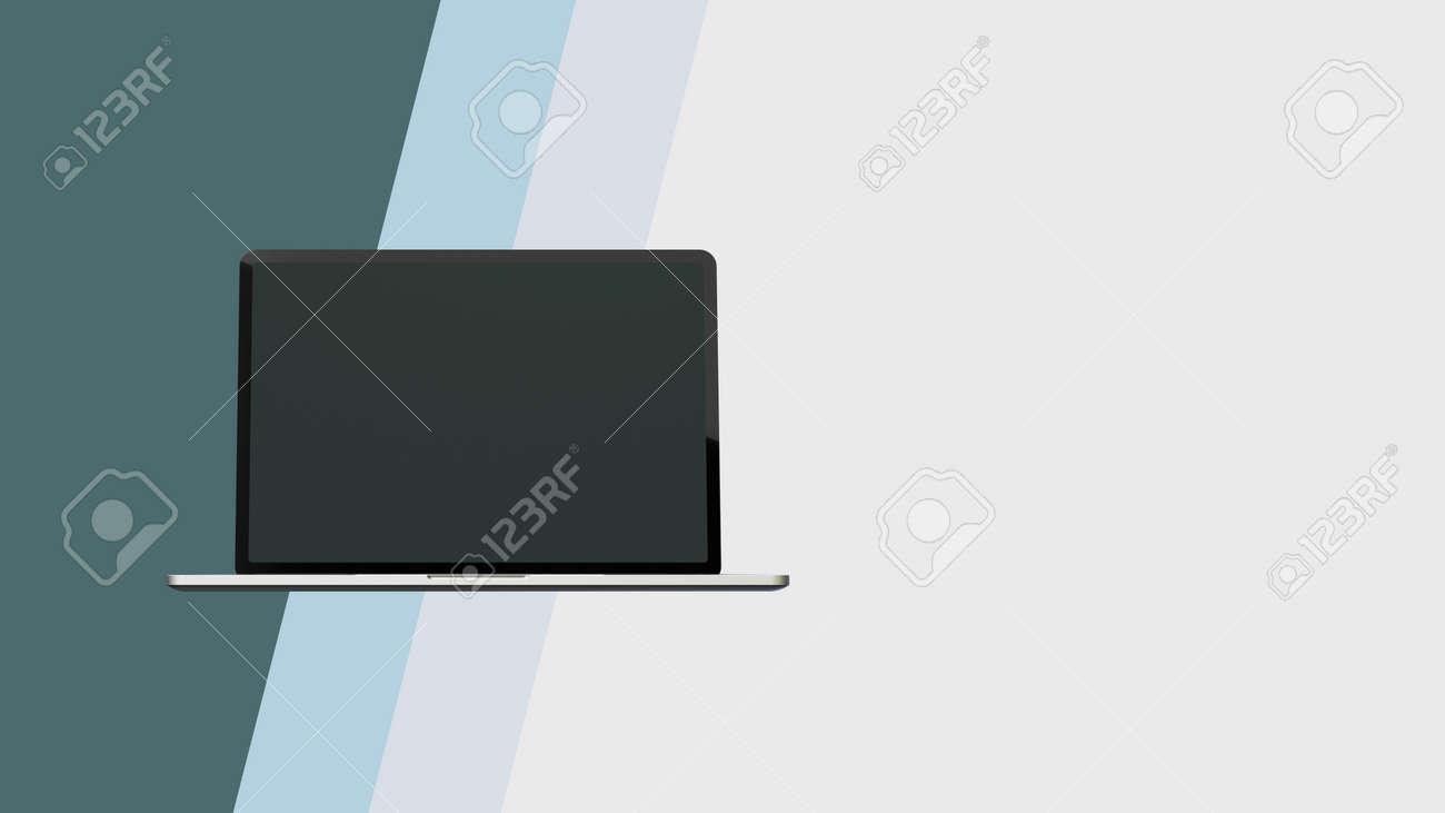 Modern opened laptop mockup 3d render on light background. - 169603087