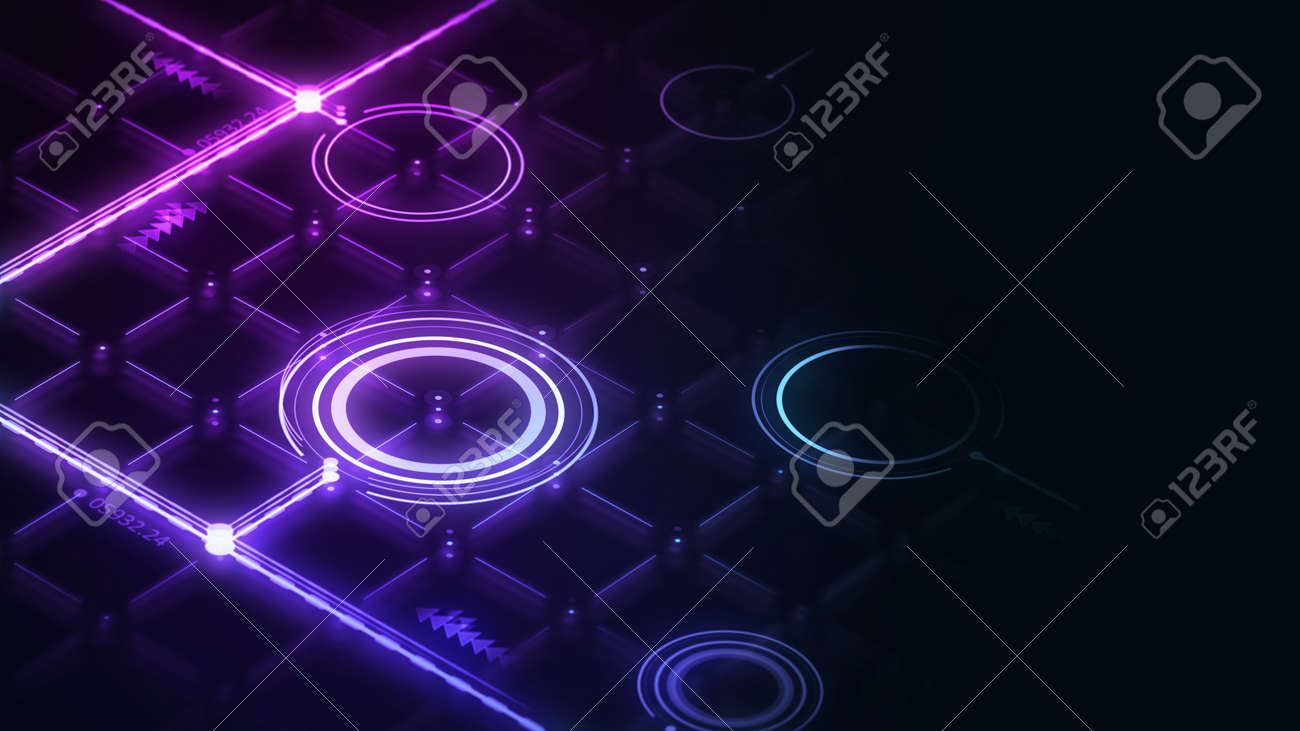 Isometric digital interface with glowing lines and circles 3d render. Abstract neon grid interface render on dark background. - 169603084