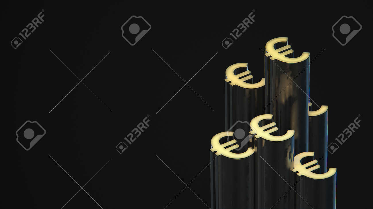 Euro-shaped towers group grow up on dark background. Financial business 3d render concept. - 169603091