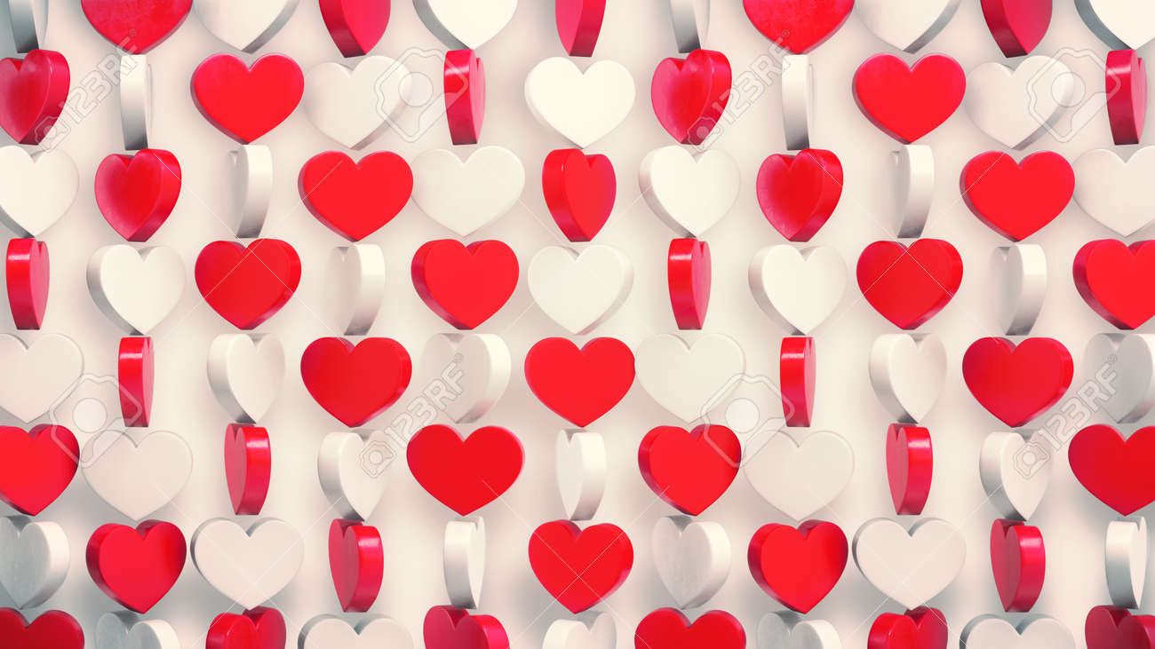 Red and white hearts pattern 3d render. Rotating of valentine's symbols on white background. - 169603095