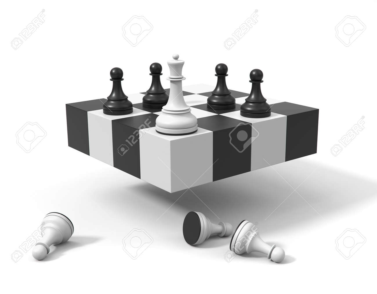 Chess concept. Queen and pawns on a symbolic chessboard 3d render. Chessmen in the corner, white pawns on the ground. - 169603094