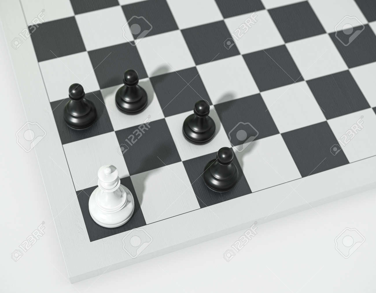 Chess concept, white queen vs black pawns. Queen and pawns on a chessboard 3d render. Chessmen in the corner. - 169603098