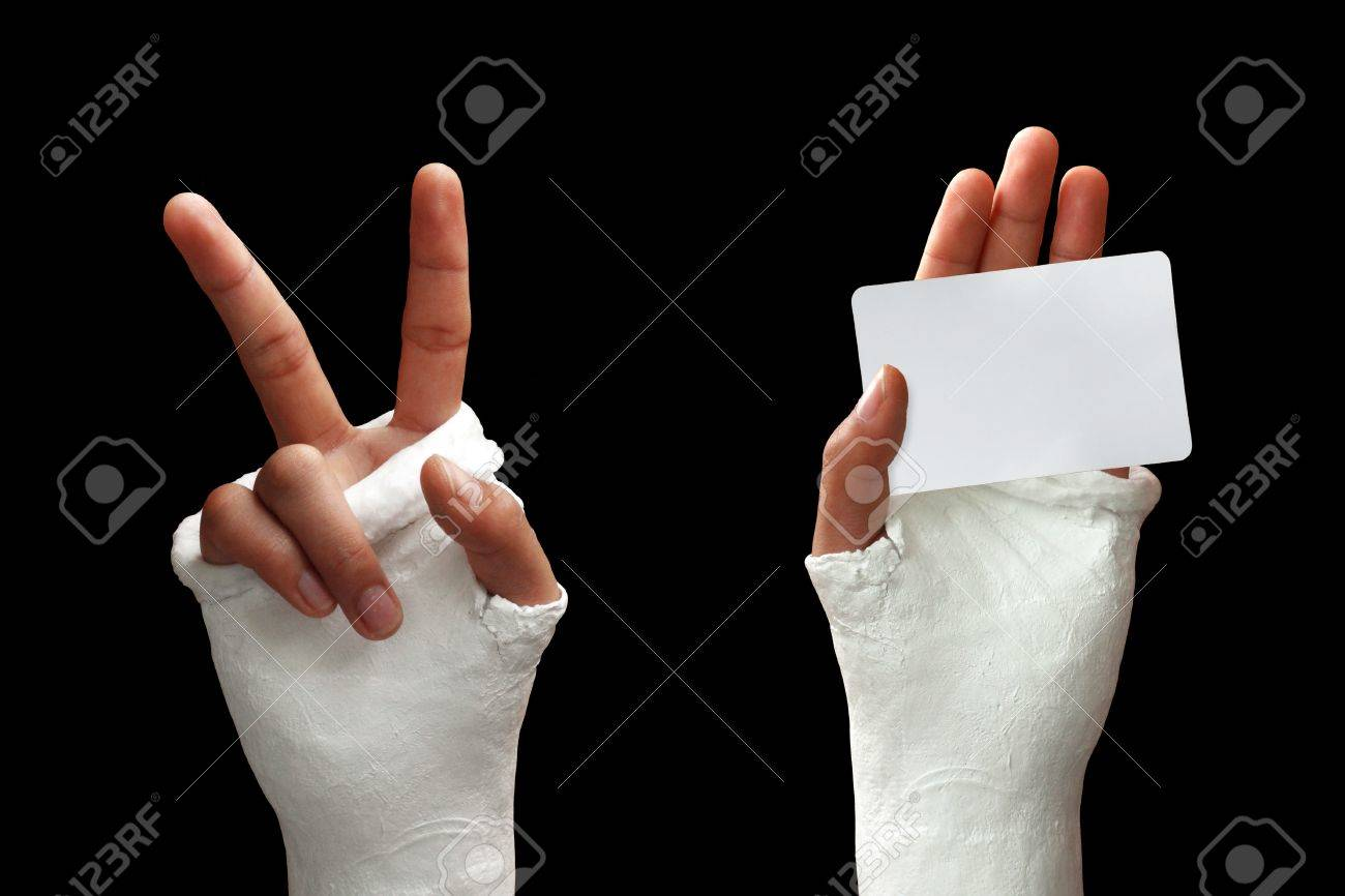Take my broken arm photo  on dark background Stock Photo - 11718169
