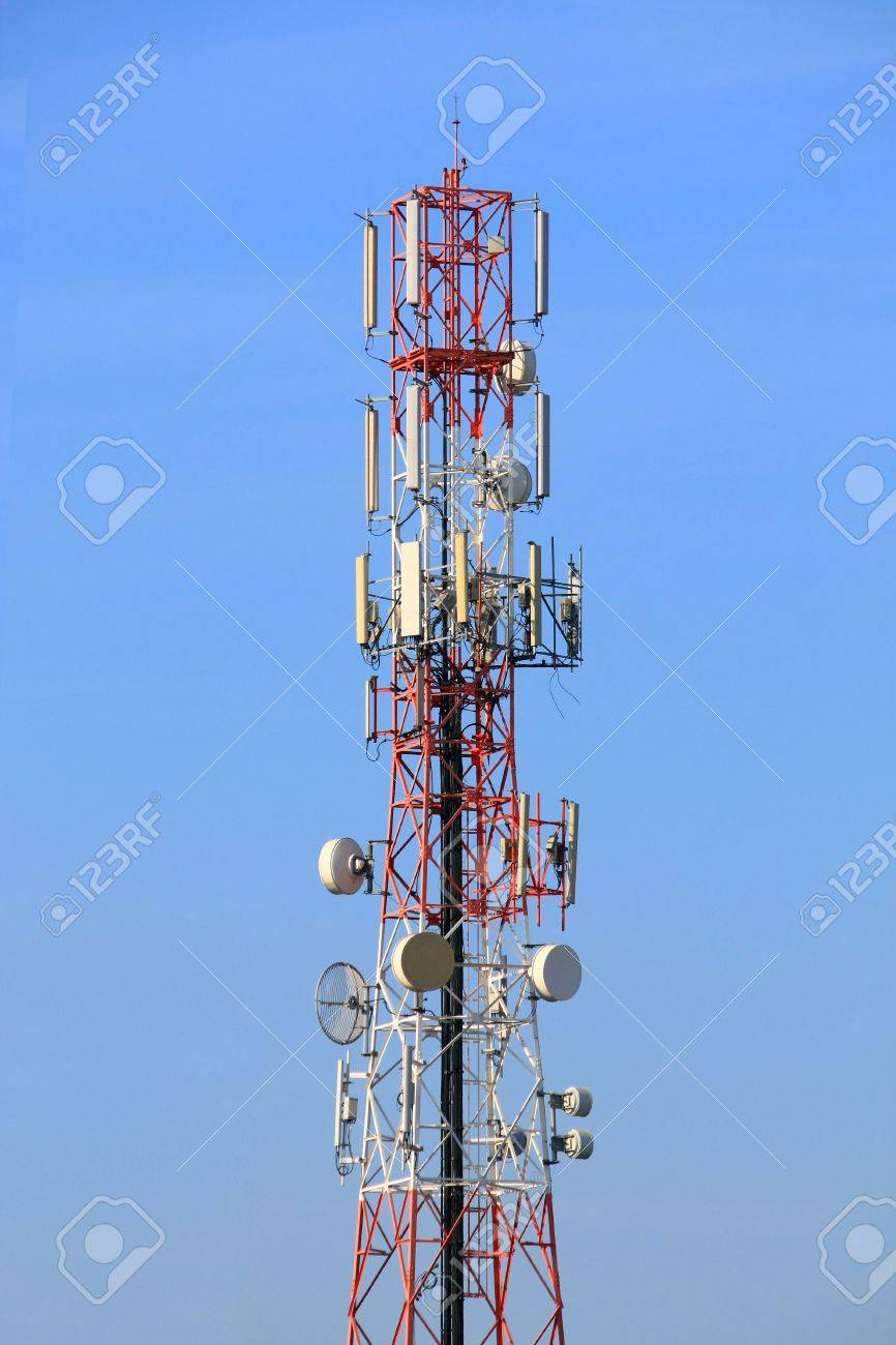 Red and White of radio tower Stock Photo - 17126410