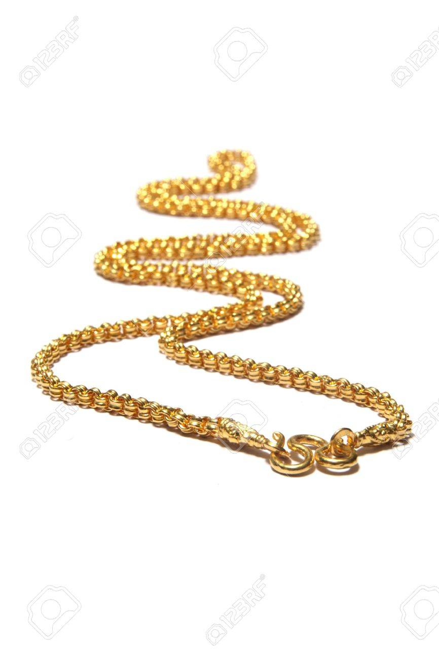 gold necklace isolated on white background Stock Photo - 17581117