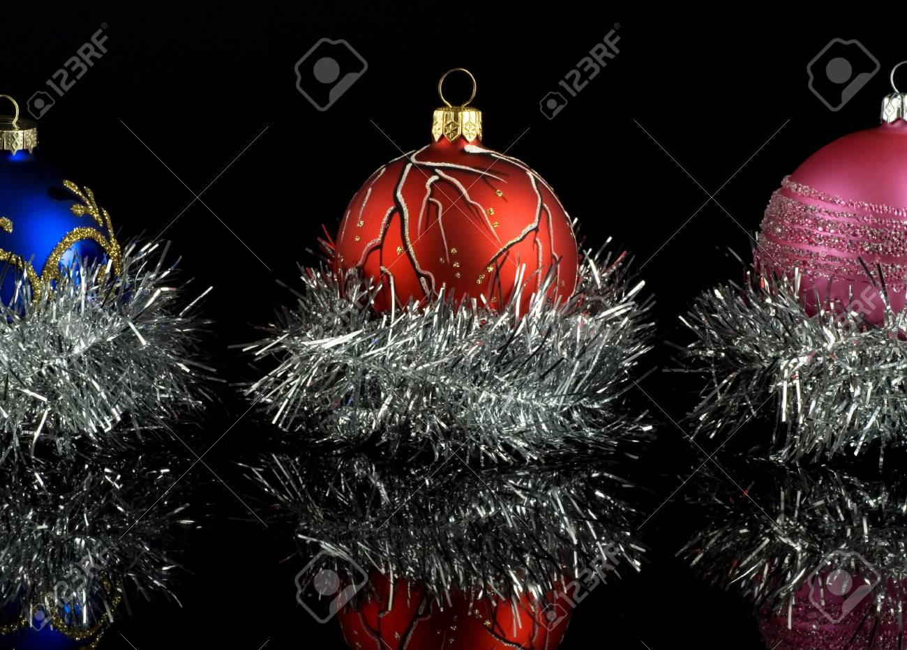 A colorful christmas tree balls with reflection Stock Photo - 3232502