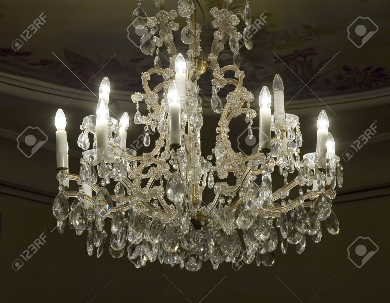 Antique Crystal Chandeliers: Antique crystal chandelier Stock Photo - 3232189,Lighting