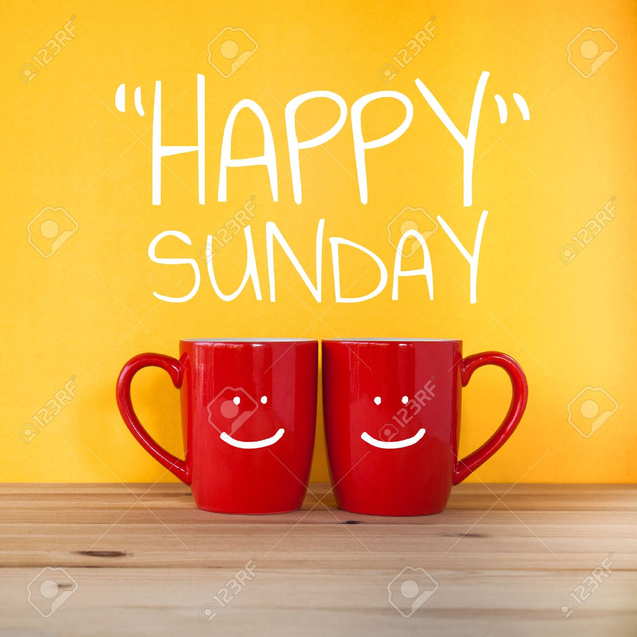 Happy Sunday Wordtwo Cups Of Coffee And Stand Together To Be
