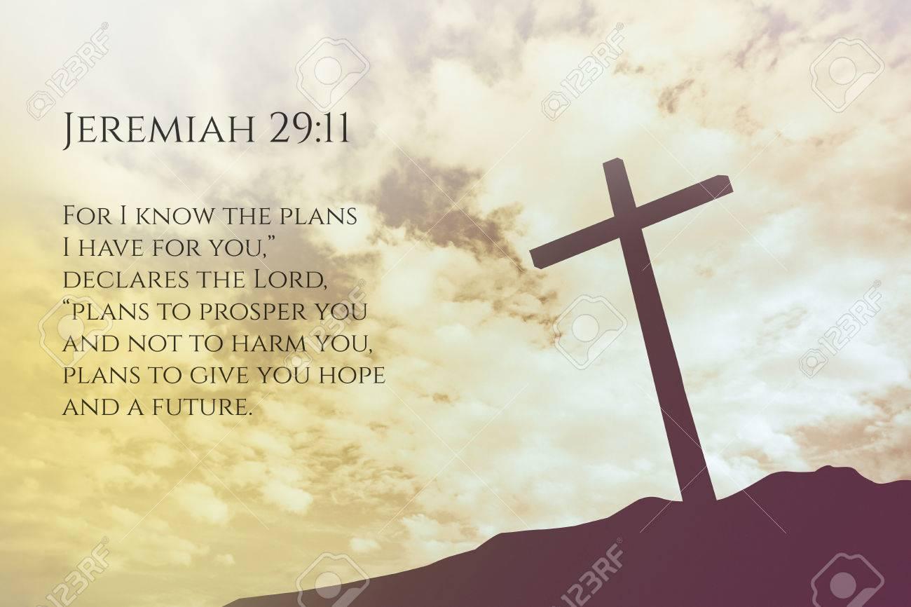 Favoritos Jeremiah 29:11 Vintage Bible Verse Background On One Cross On  TA79