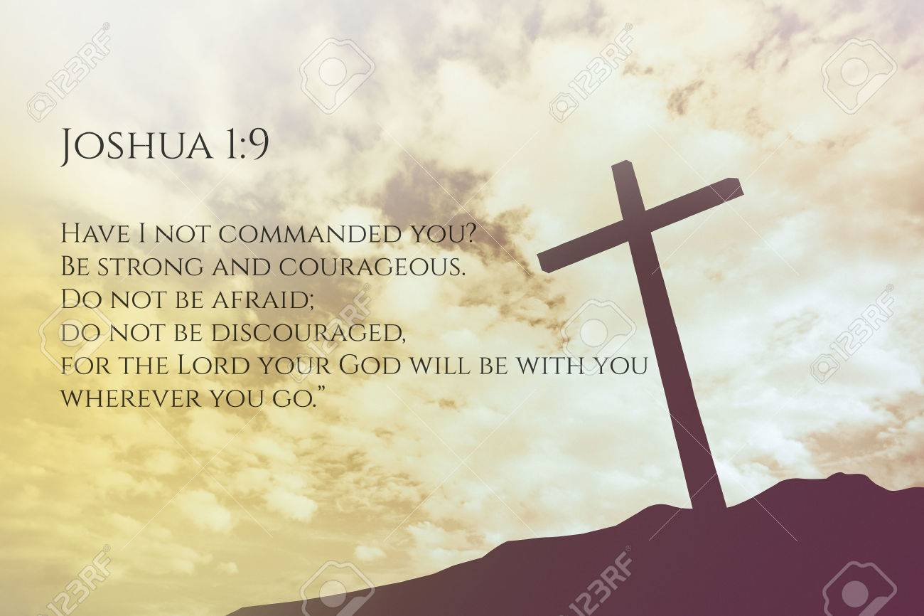 joshua 1 9 vintage bible verse background on one cross on a hill