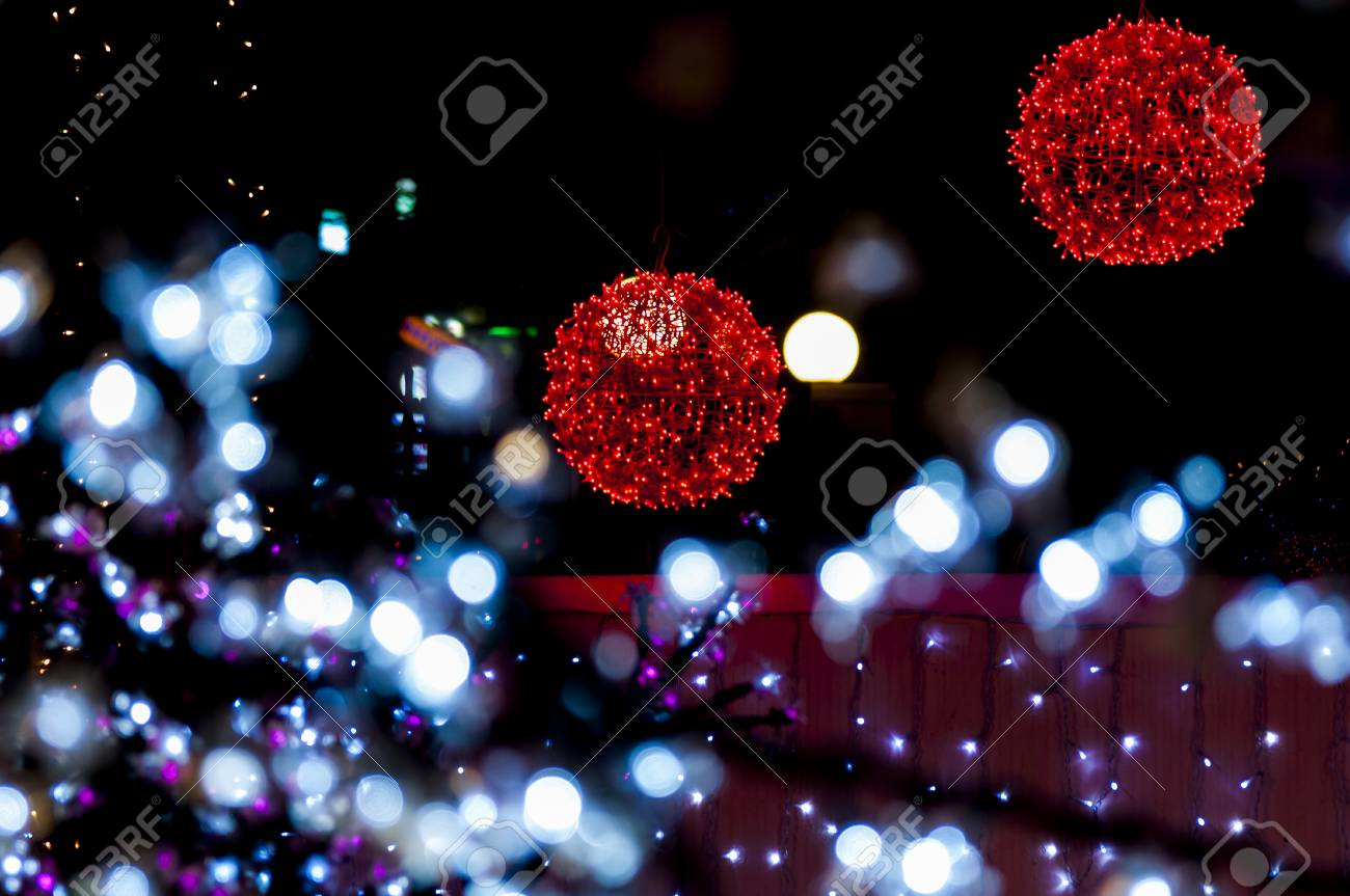 Christmas Light Balls.Christmas Light Balls And Lights Around Them