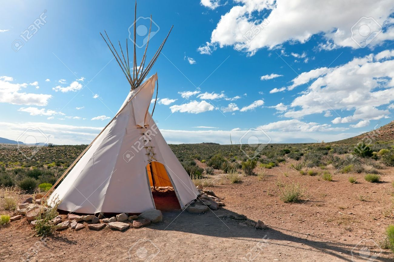 Teepee in american prairie near Grand Canyon Skywalk build by Hulapai tribe - 9807693