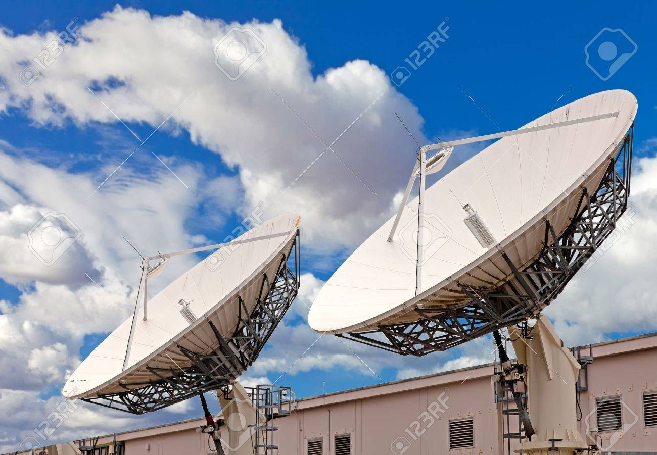Satellite Tv Antenna On The Roof Of Communication Center Stock Photo Picture And Royalty Free Image Image 10836151