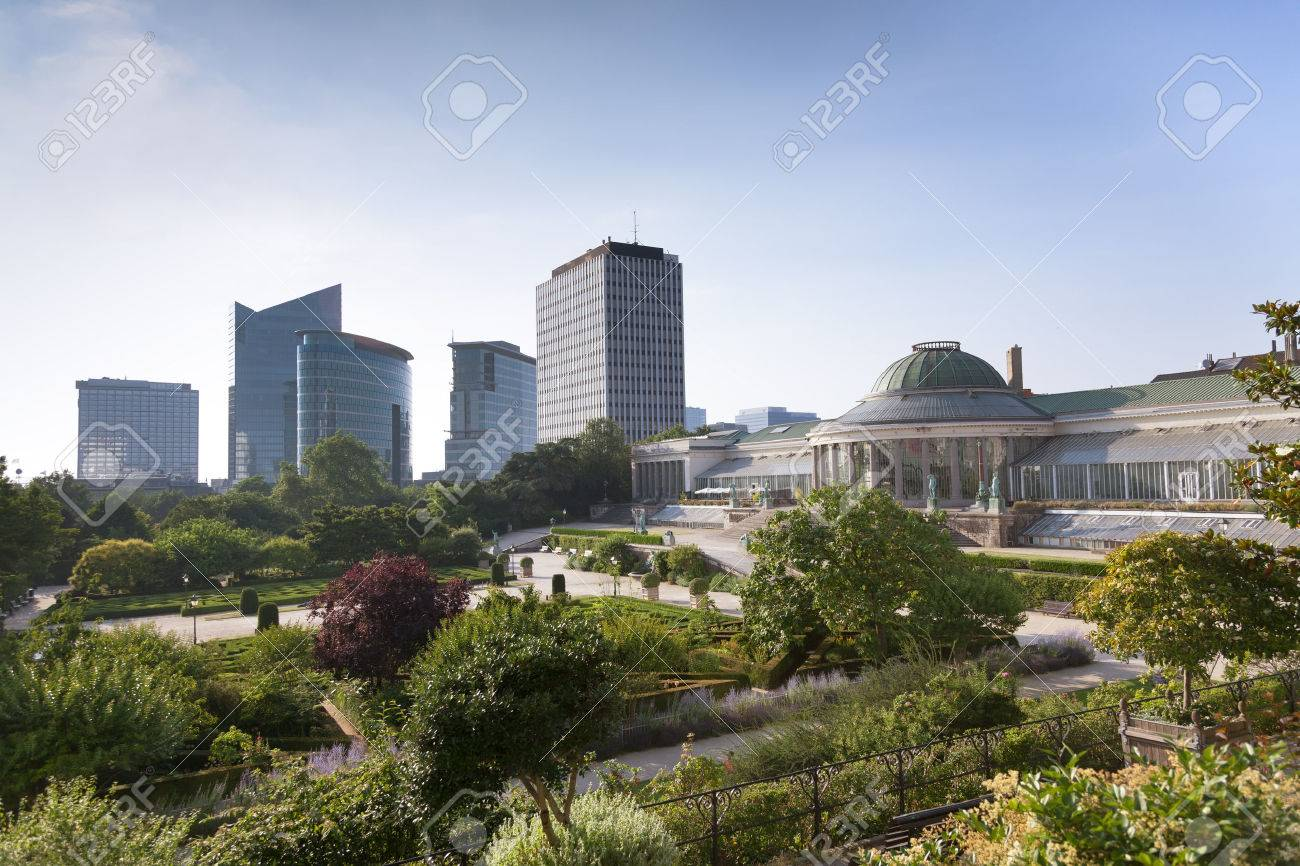 Vintage statues and modern buildings in the park Botanique, Brussels, Belgium - 22225464