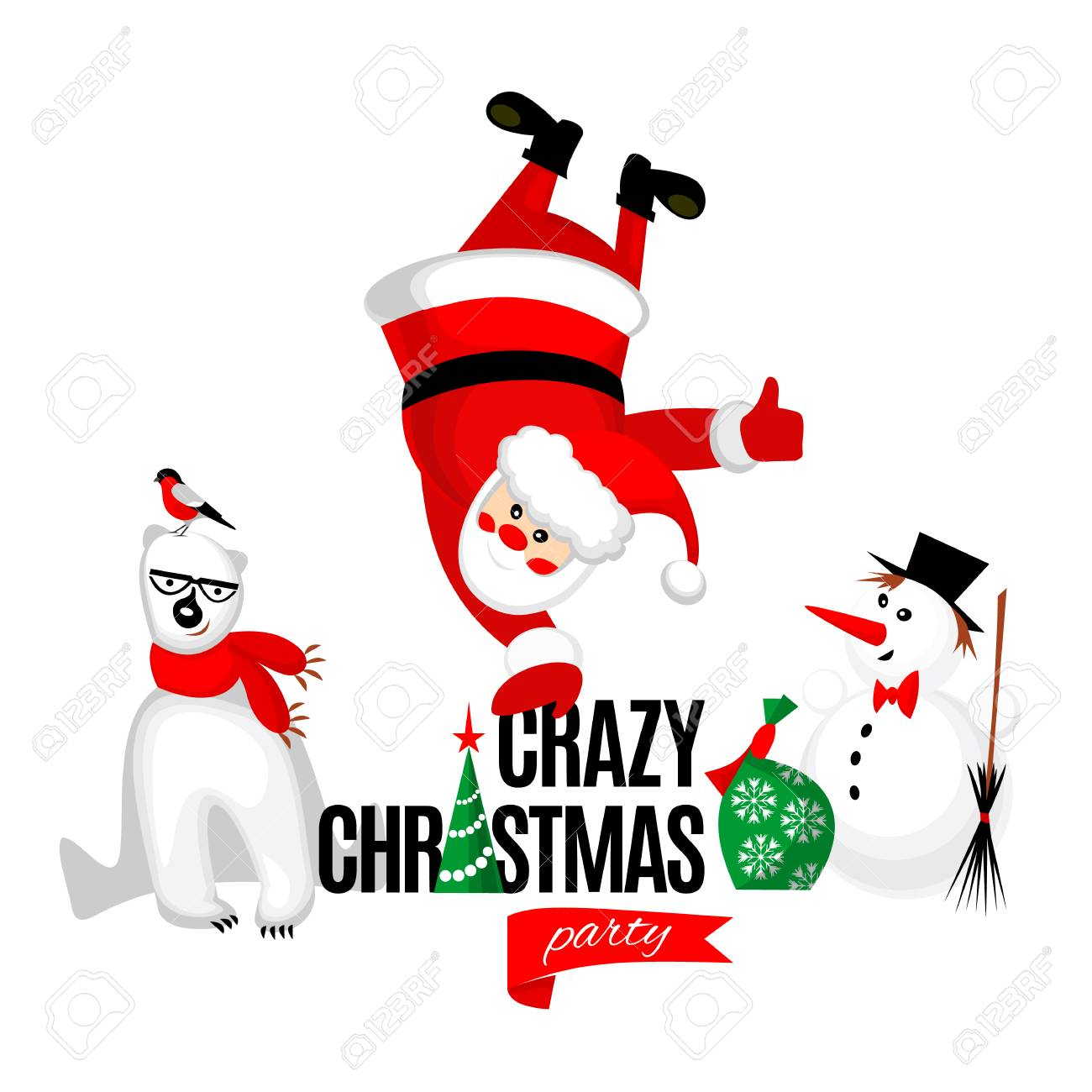 c5567054c44a8 Crazy Christmas party poster. Merry Christmas characters  Santa Claus