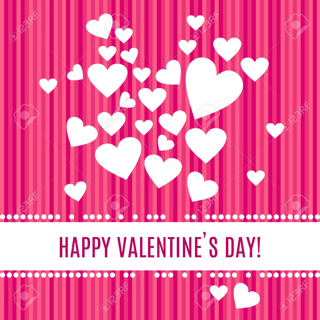 Happy Valentines Day Greeting Card White Hearts Isolated On
