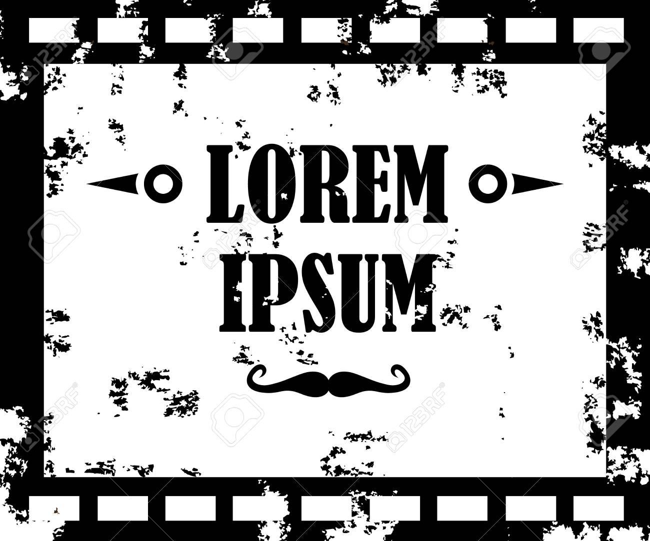 Monochrome Old Film Movie Filmstrip Banner For Your Design Editable Grunge Frame