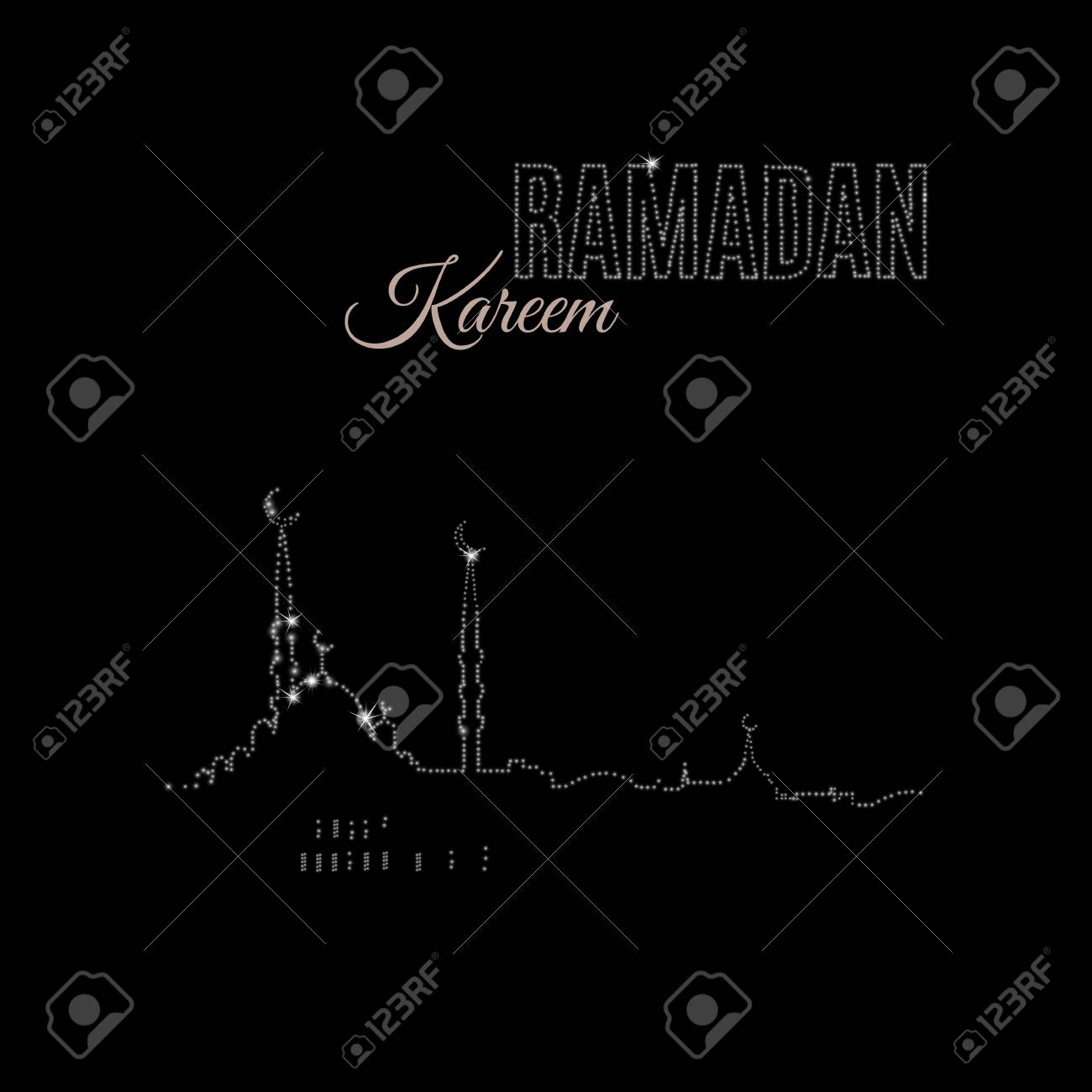 Ramadan Kareem Black Greeting Card Drawing By Sparkles Typographic