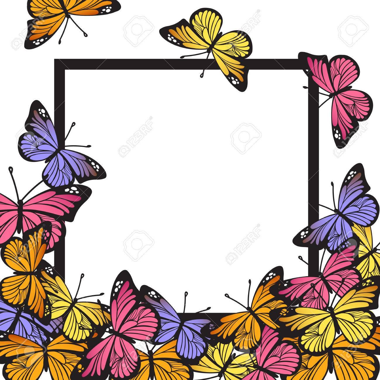 Grußkarte Mit Hand Gezeichneten Schmetterlingen Und Schwarzem ...