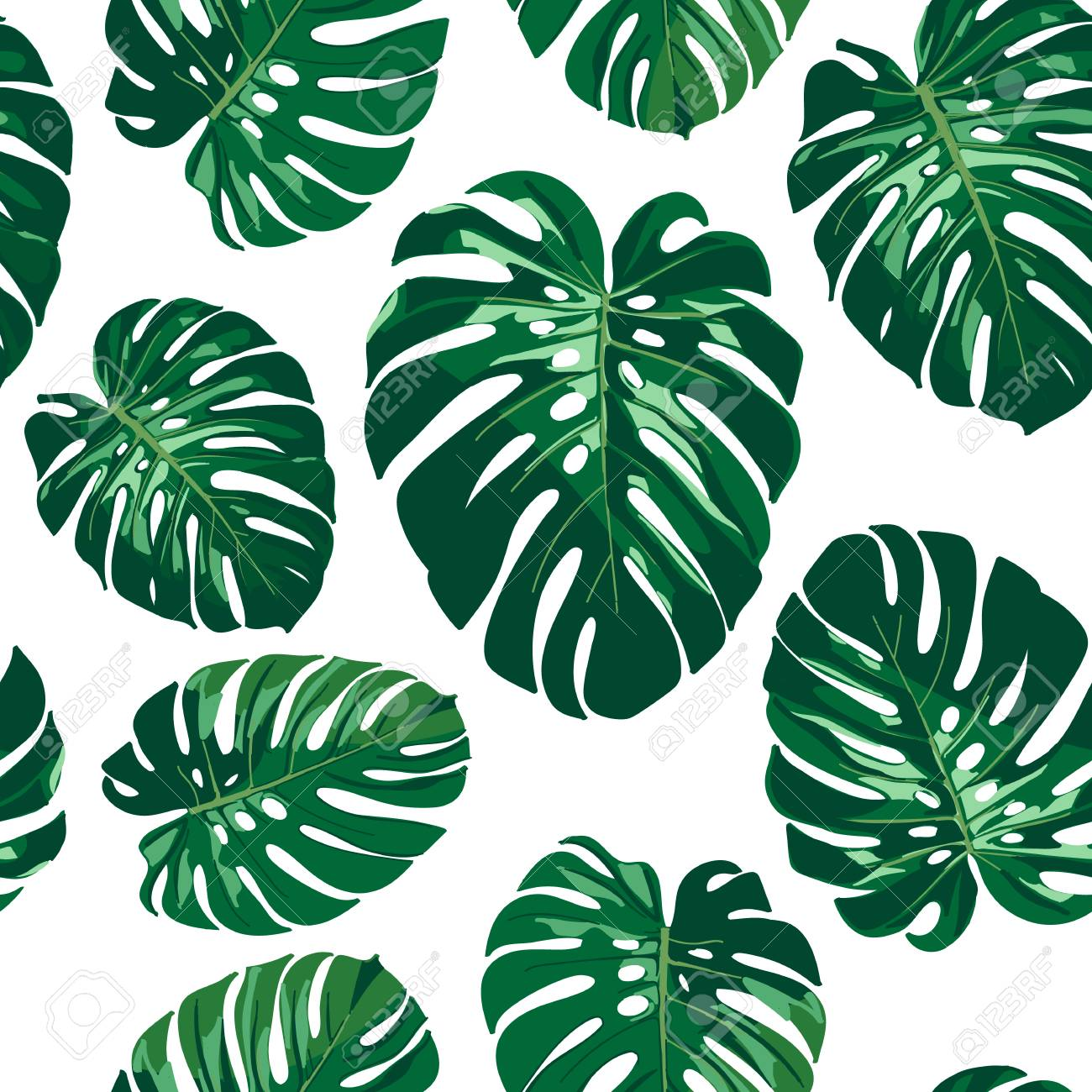 Seamless Monstera Palm Leaves Pattern For Your Summer Background