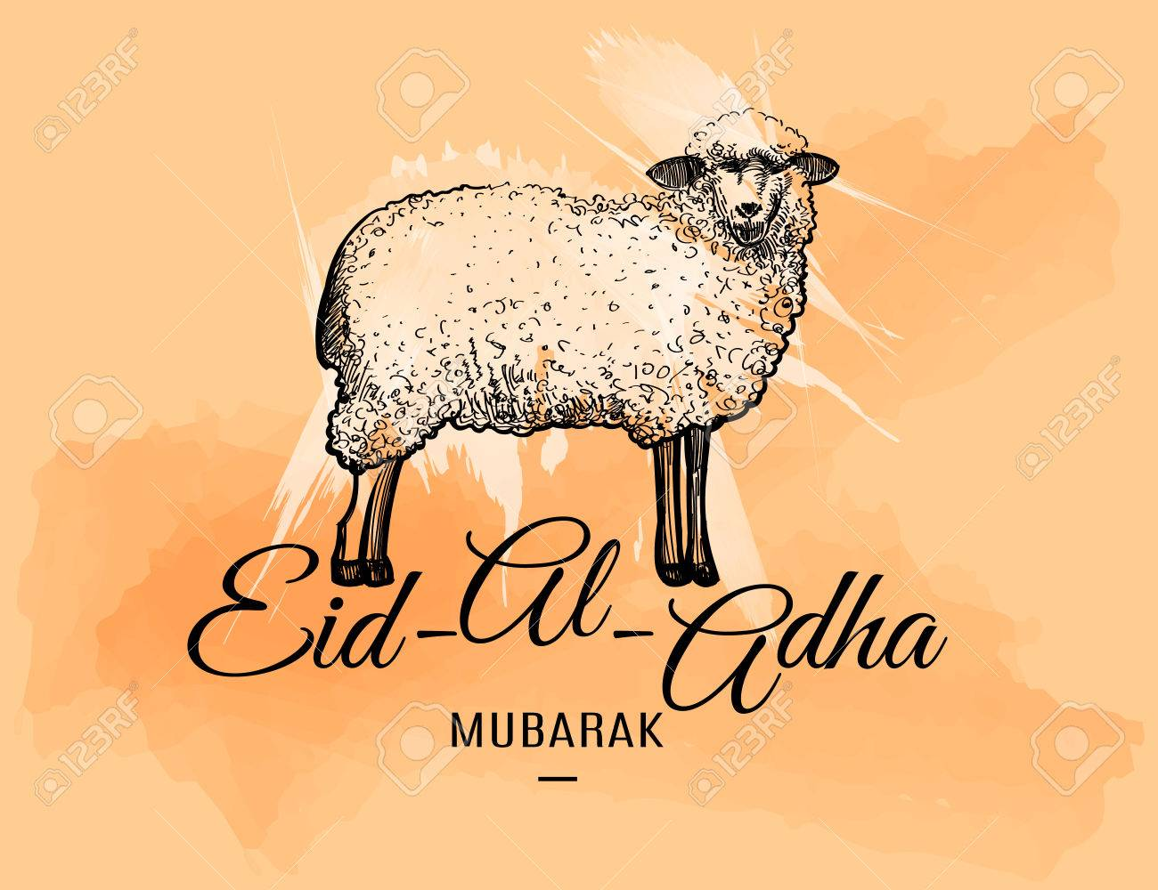 Eid Al Adha Greeting Card With Doodle Sheep On Watercolor Spots
