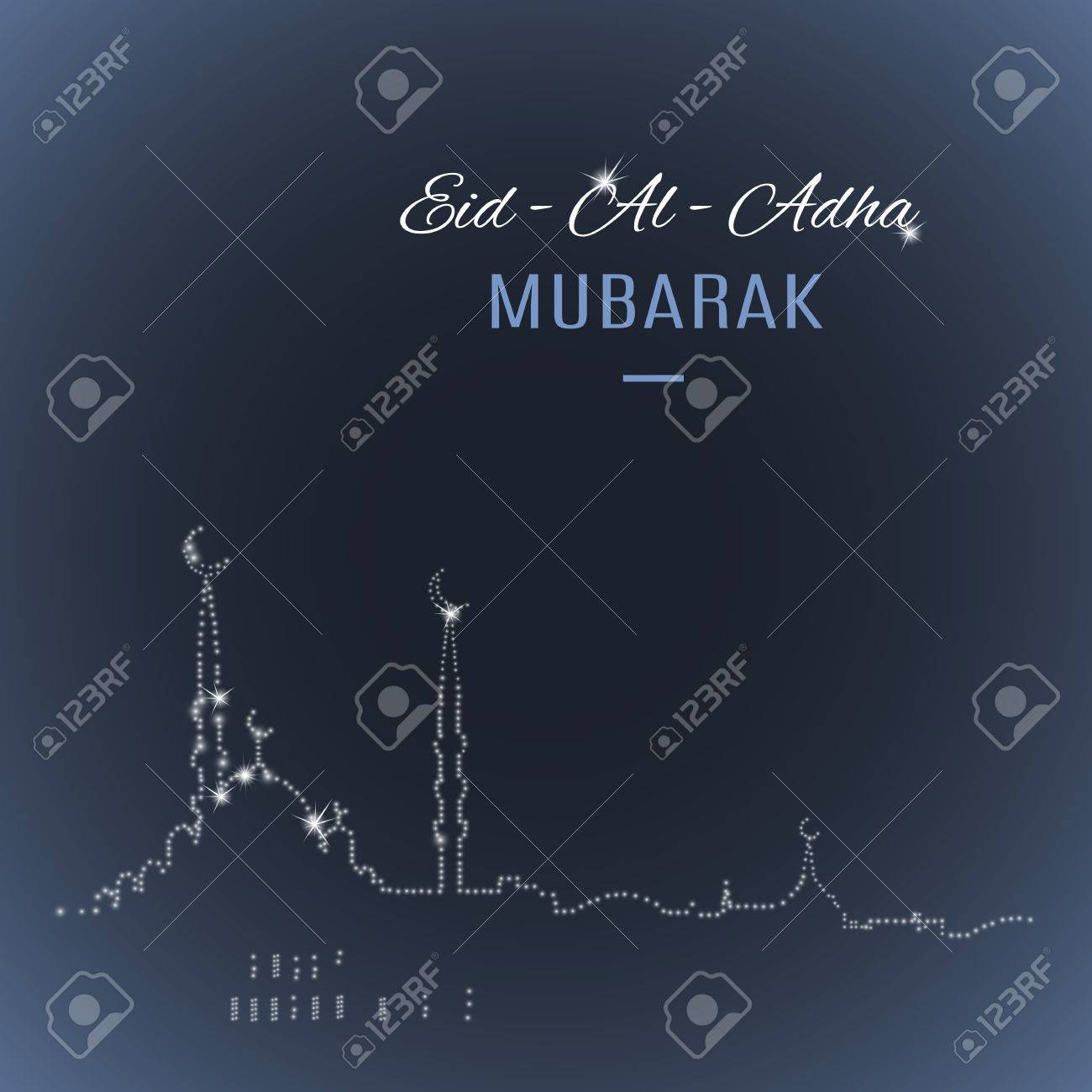 Arabic Islamic Holiday Eid Al Adha Mubarak Greeting Card With