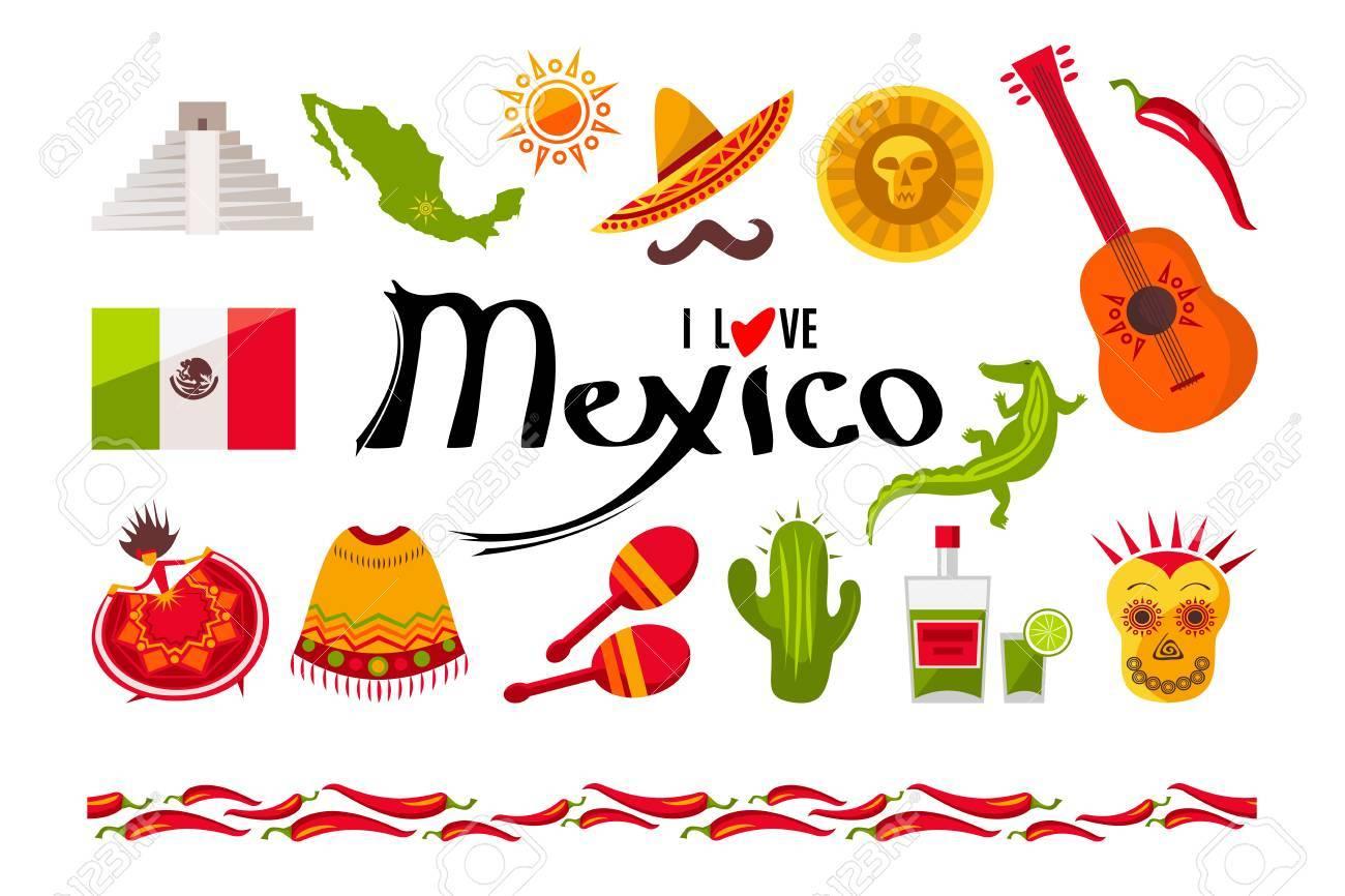 I Love Mexico Icon Set Sun Moai Pyramid Tequila Mexico Map