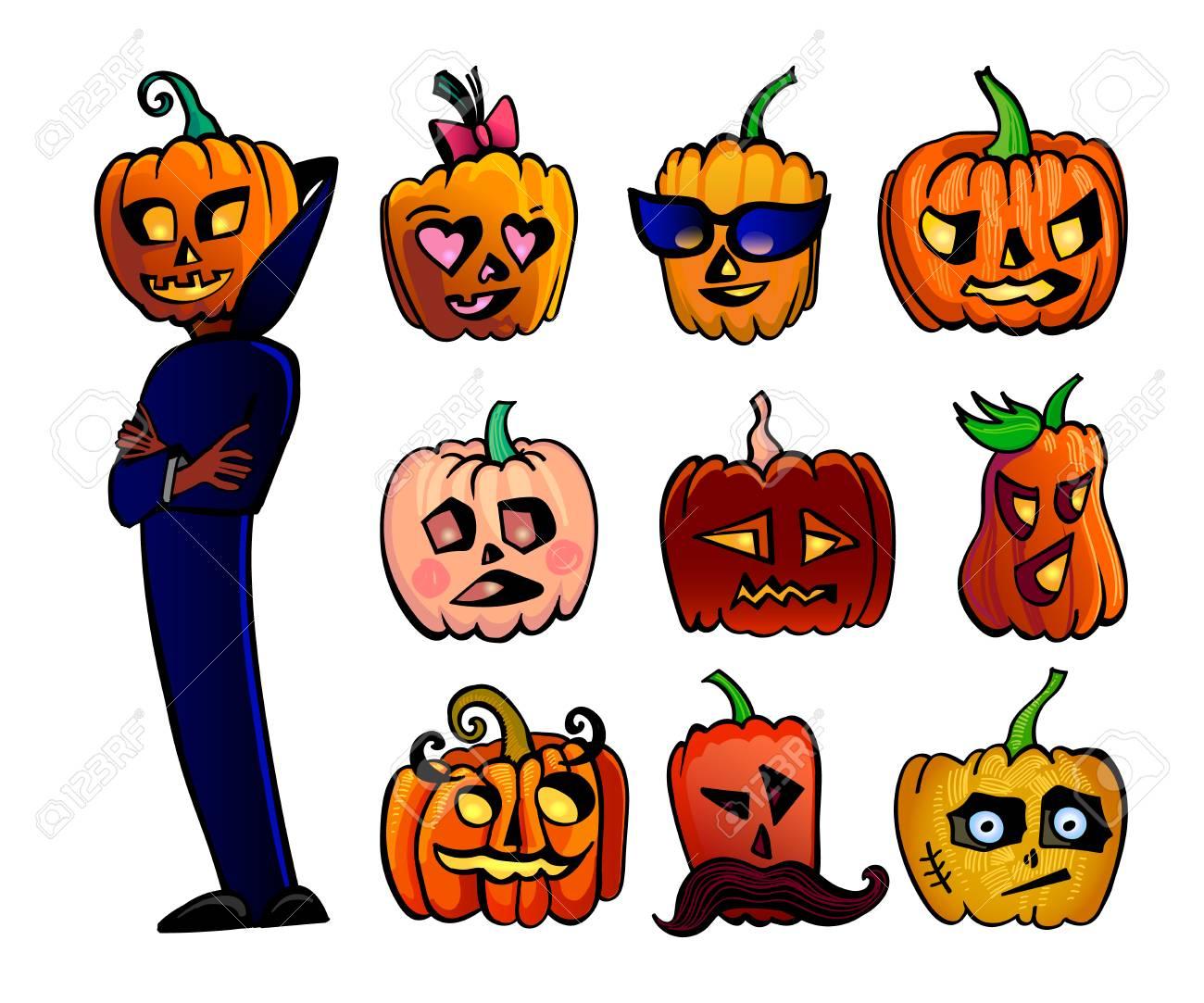 Halloween Ensemble De Citrouilles Dessin Animé Mignon Illustration Vectorielle Du Personnage De Halloween En Cape Bleu Foncé Et 9 Différentes Têtes