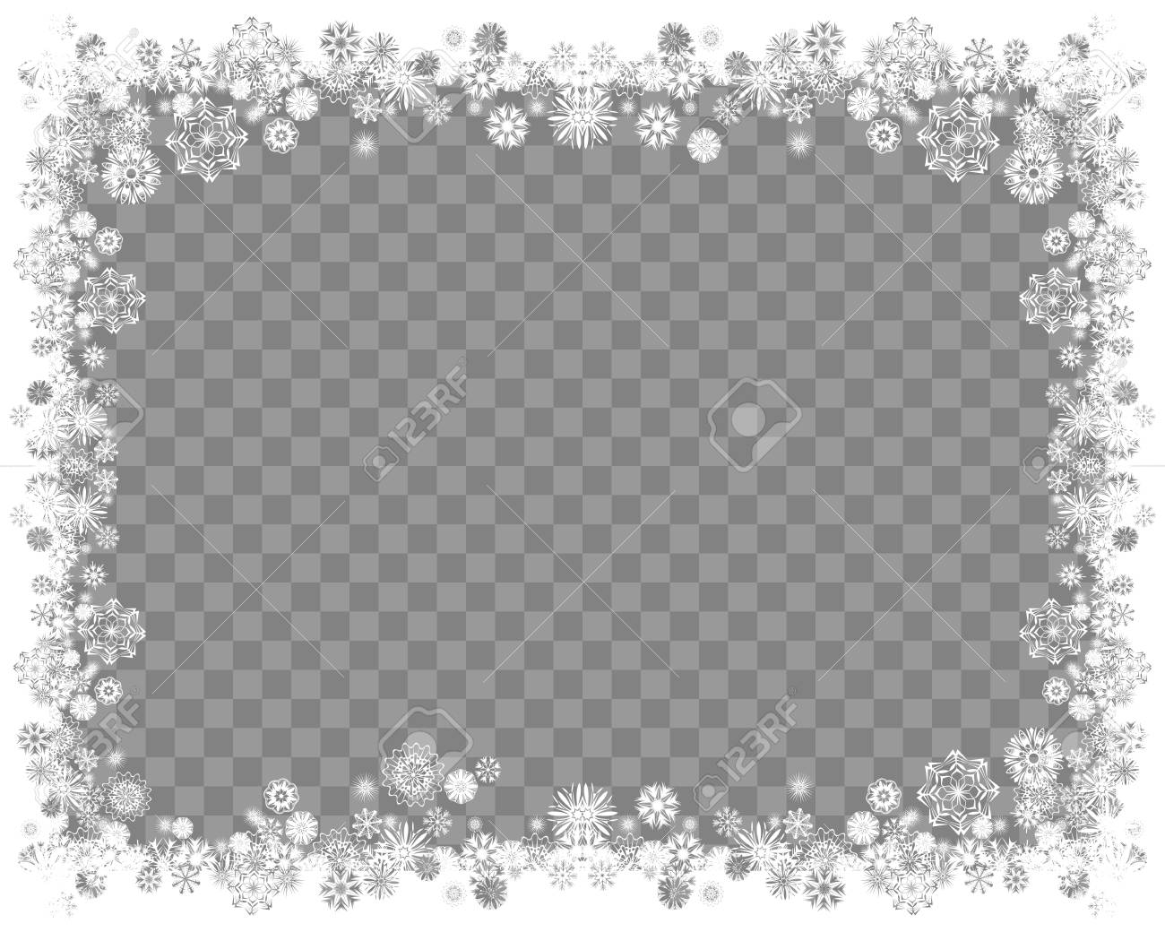 Snow frame on a transparent background. Abstract winter background for your Merry Christmas and Happy New Year frame design. Vector illustration - 90865380