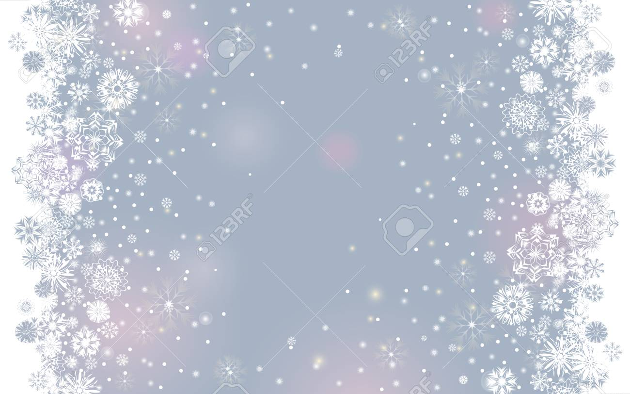4a706ccc6fa95 Falling snow border on a light tender silver grey background. Abstract winter  lights blurry background